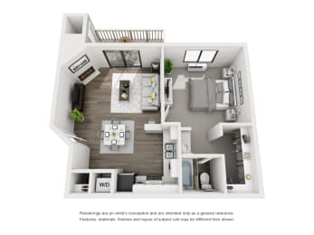3d layout of apartment unit in morrison colorado